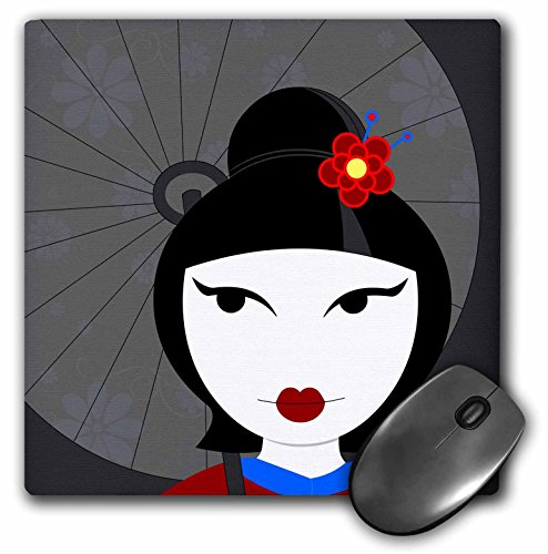 (3dRose LLC 8 x 8 x 0.25 Inches Cute Geisha Girl with Umbrella Mouse Pad, Red and Blue (mp_57093_1))