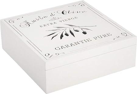 JDS-Caja de almacenamiento de aceite de oliva de madera, 24 x 24 x 8 cm: Amazon.es: Hogar