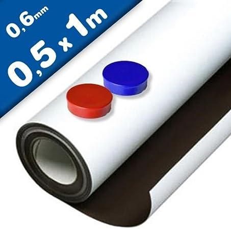 Lámina de hierro blanco mate autoadhesiva 0,6mm x 50cm x 100cm - Ideal para la creación de tableros y todo tipo de aplicaciones innovadoras en las que se utilizan imanes