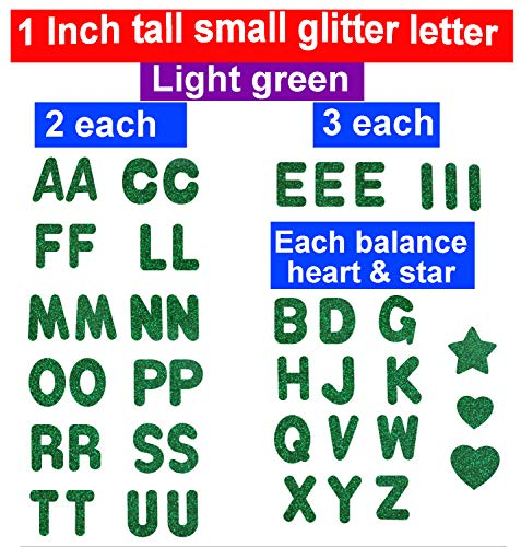 "1"" Tall Glitter Letters,Iron On Heat Transfer Vinyl for Custom Name,Birthday Girl Shirt,Boy Shirt,Birthday tees,Bridal Party,Love MOM, DAD, Lets Party,Decoration (Green)"