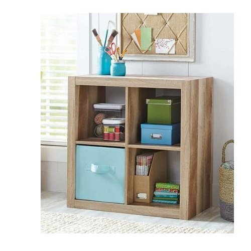 Better Homes And Gardens Bookshelf Square Storage Cabinet 4 Cube Organizer  (Weathered)