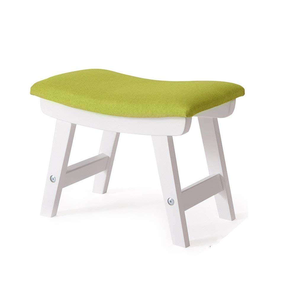 White+green BRNEBN Chair-Fabric Stool Fashion shoes Stool Stool Home Bench Living Room Simple Stool Solid Wood Sofa Stool Home Convenient (color   White+Green)