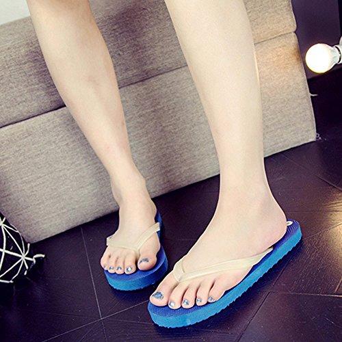 Ouvert Chaussures Lumineux Décontractée Hommes Les Slim Plage Sandales Bleu Flops Bout Unisexe De Eté Amoureux Flip Chaussons Femmes Eizur Plat Tongs Pour qSdXBwXa