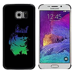 LECELL -- Funda protectora / Cubierta / Piel For Samsung Galaxy S6 EDGE SM-G925 -- Cool Glasses Neon Cat --
