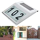 Solar Lighted Address Light, OWIKAR Solar Powered 2 LED House Address Wall Number Light Stainless Steel Pannel Street Road Lamp Door Number Light Wall Plaque Doorplate For Home Garden