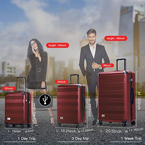 Verdi Luggage Set 3 Piece - Lightweight with USB Port Hardside Carry On Suitcase - Includes Expandable 20 Inch Carry on, 24In/TSA-Approved Lock 28In Checked Bag with 8-Wheel Rolling Spinner