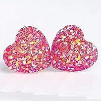 Hot Pink Druzy Heart Stud Earrings - Valentine's Gift - Hypoallergenic Titanium Posts