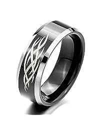 Ring for Men Women 8mm Tribal Design Silver Black Gothic Punk Aooaz