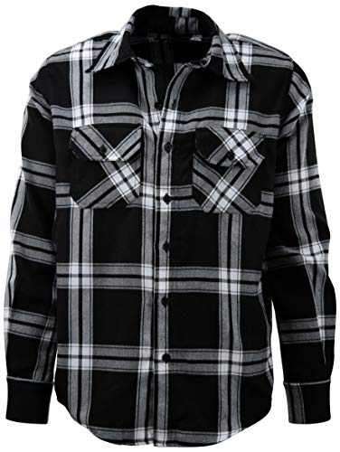 ChoiceApparel Mens Soft and Durable Button Down Flannel Long Sleeve Shirts (Many Patterns and Colors) (XL, 6A-Black)