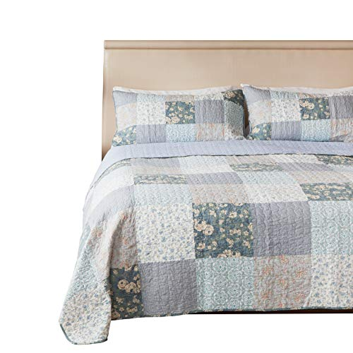 (SLPR Wildflowers 3-Piece Real Patchwork Cotton Quilt Set (Queen) | with 2 Shams Pre-Washed Reversible Machine Washable Lightweight Bedspread Coverlet)