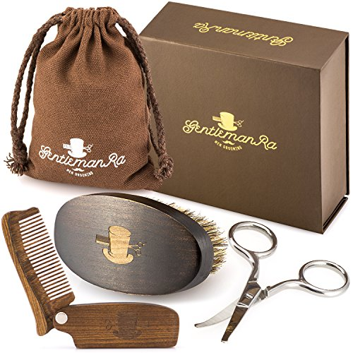 Beard Care Grooming Kit for Men - Boar Bristle Beard Brush, Sandalwood Beard Comb and Facial Hair Trimming Scissors by - Round Beard Face For