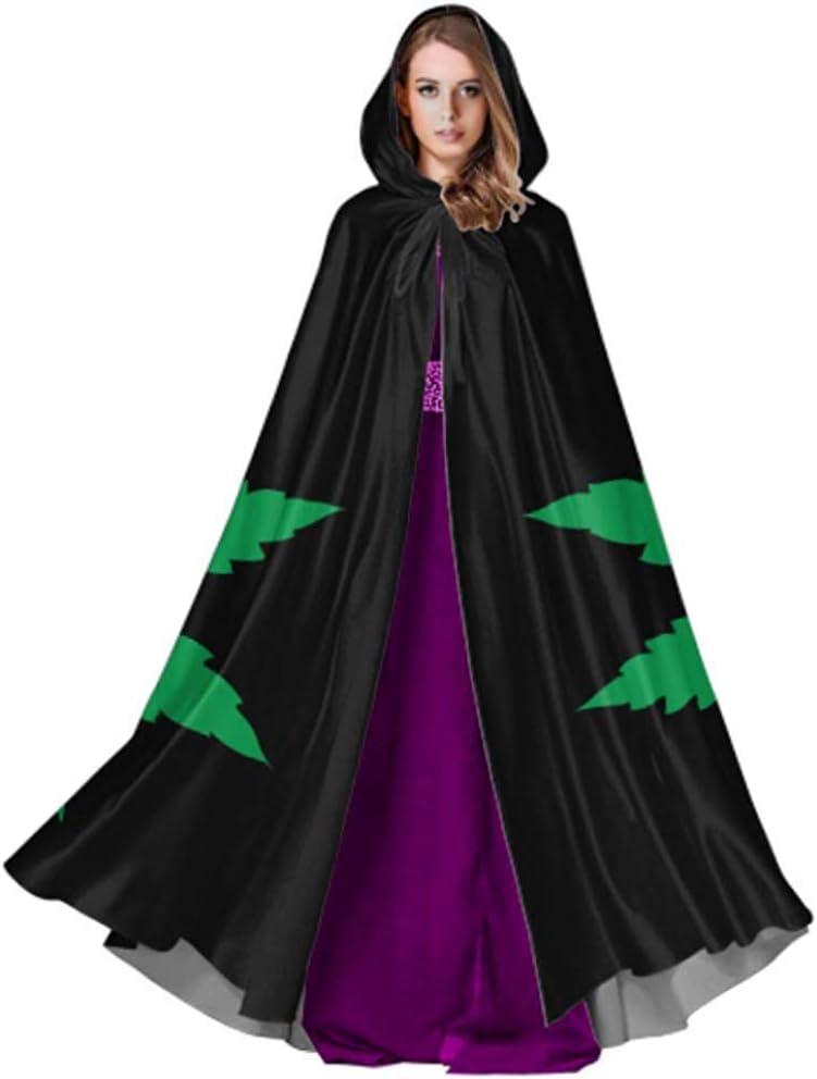 Black-Sky Capa de Marihuana Hoja de Cannabis con Capucha para Mujeres Hombres Capa de Capa para Navidad Disfraces de Halloween Cosplay