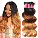 Nadula 6A Grade Brazilian Virgin Wavy Ombre Body Wave 3 Bundles Cheap Human Hair Products 95-100g/pcs Remy Weave Extensions Natural Color (16 18 20, T1b/4/27)