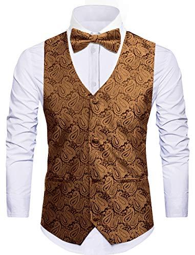Cyparissus 3pc Paisley Vest Men Neck Tie Bow Tie Set Suit ()