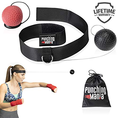 Punching Mania Boxing Reflex Ball for Adults and Kids – 2 Pro Punching Fight Balls on String for Hand Eye Coordination and Cardio Training, Boxing Workout Equipment – BONUS Carry Bag + Replacement KIT – DiZiSports Store