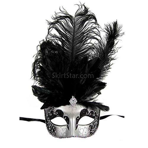 Largemouth Women's Feather Topped Masquerade Mask (Silver/Black) -
