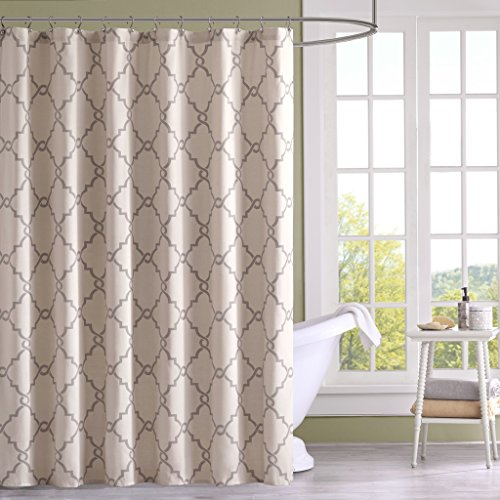 "Madison Park MP70-1285 Saratoga Shower Curtain 72x72"" Beige,"