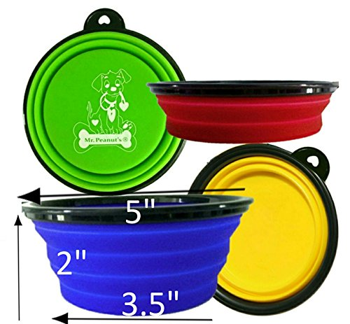 Mr. Peanut's Collapsible Dog Bowls, Set of 4 Colors, Dishwasher Safe BPA FREE Food Grade Silicone Portable Pet Bowls, Foldable Travel Bowls for Feed & Water on Journeys, Hiking, Kennels & Camping (Small Pet Gear Travel)