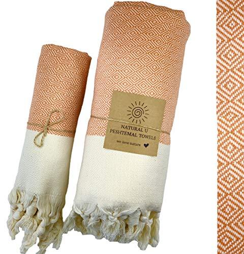 Natural U | Set of 2 | Turkish Cotton Peshtemal | Prewashed | 34x66inch 17×35 inch for Body & Hair | Turkish Bath Towel…