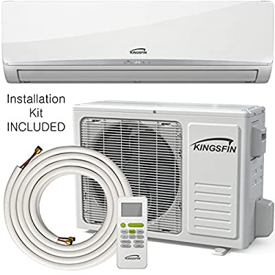 KINGSFIN Mini Split Ductless AC Air Conditioner and Heat Pump 12000 BTU / 230V 15 SEER Complete System