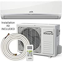KINGSFIN Mini Split Ductless AC Air Conditioner and Heat Pump 12000 BTU / 230V 15 SEER Complete System (12000 BTU / 230V)