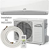 KINGSFIN 12,000BTU Mini Split Ductless AC Air Conditioner and Heat Pump 12000 BTU / 115V 15 SEER Complete System