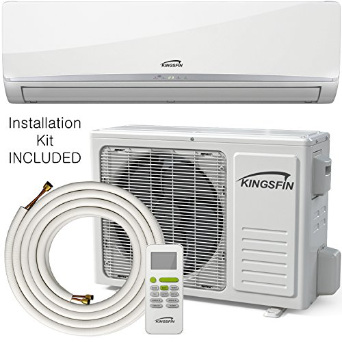 KINGSFIN 9000BTU Mini Split Ductless AC Air Conditioner and Heat Pump 9000 BTU / 115V 15 SEER Complete System (9000 BTU / 115V) (9000 BTU / (Heat Pump Hspf)