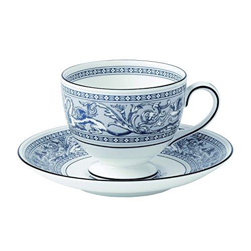 Wedgwood Florentine Teacup & Saucer Set, Indigo White/Blue