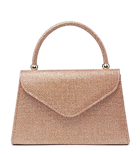 Top Bag Champagne Handle Handbag Party MA35007 Evening Ladies EAMUK Clutch Women's Glitter Glittery BqfEnwxU