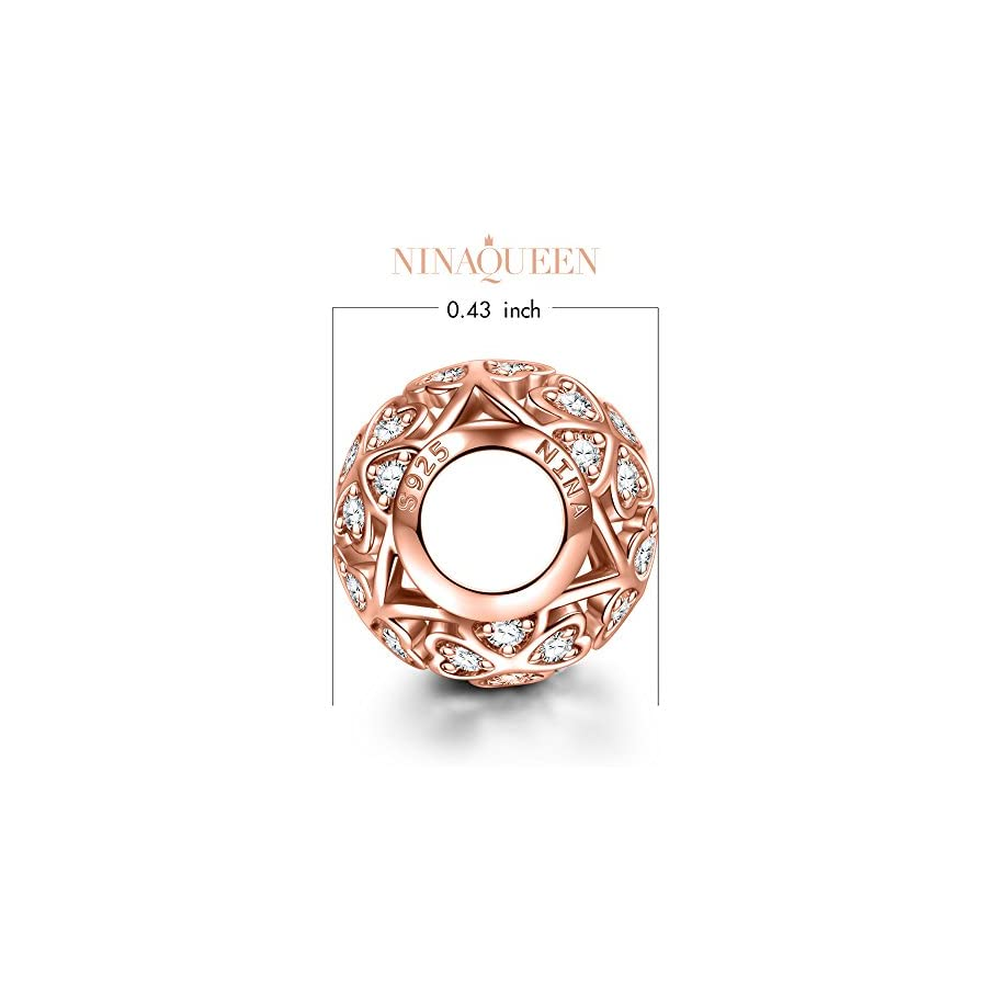 NINAQUEEN 925 Sterling Silver Love Heart Rose Gold Plated Charms for Pandöra Bracelets Necklaces Pendants Birthday Anniversary Christmas Jewelry Gifts for Women Wife Mom in Law Niece Daughter Friends