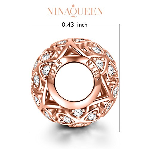 NinaQueen 925 Sterling Silver Heart Love Clear Zirconia Rose gold Charms