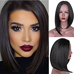 BlueSpace Bob Wig Short Hair for Women Black Straight Hair Natural Looking Heat Resistant Fiber Glueless Synthetic Full Wigs