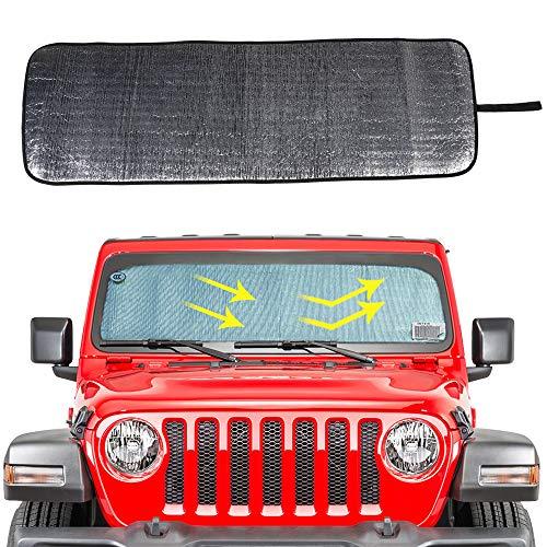 Price comparison product image Windshield Sunshade Sun Shade Heat Shield Sun Visor Mat for 2018 2019 Jeep Wrangler Rubicon Sahara JL 2 Door & 4 Door ...