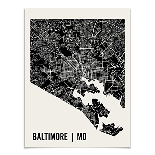 Baltimore Map Art Print by Mr City Printing