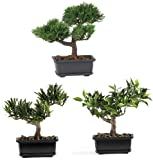 Nearly Natural 4122 Bonsai Decorative Silk Plant Collection, 8.5-Inch, Green, Set of 3