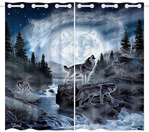 HommomH 54 x 84 inch Curtains 2 Panel Grommet Top Darkening Blackout Room Moon Wolf