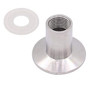 "HONGLU Sanitary Pipe Fitting Female Threaded to 1.5 Inch TRI CLAMP (OD 50.5mm Ferrule) (Pipe Size: 1/2"" NPT) SUS 304"