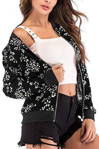 Avec Imprimée Oudan Noir Veste Femme Classique À Courte Imprimé Pour Taille Et Noir Large Fleurs coloré Floral qf05xqrR