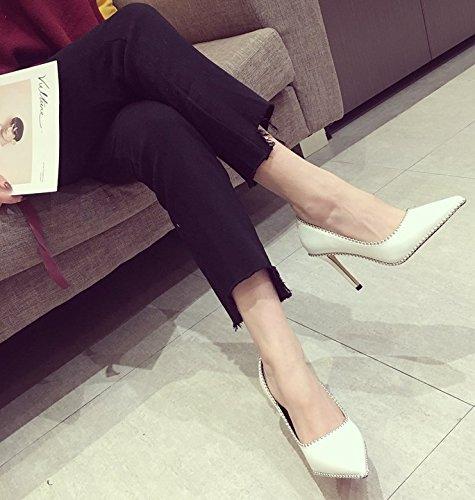 Ajunr Puerto de la luz de punta fina y remaches 9cm unos zapatos de tacón de moda retro blanco salvaje zapatos de mujer 36 Ocasional elegante,Transpirable,Sandalias Mujer 36