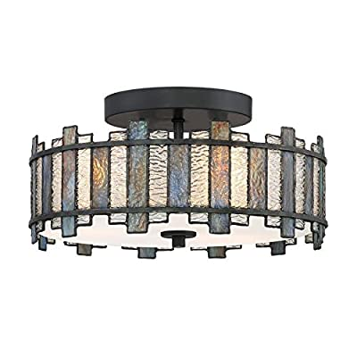 Quoizel Sentry 14-in W Black Tiffany-Style Flush Mount Light