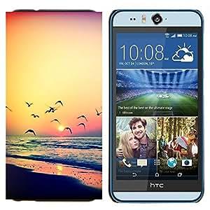 TECHCASE---Cubierta de la caja de protección para la piel dura ** HTC Desire Eye ( M910x ) ** --naranja puesta de sol del verano del océano gaviota