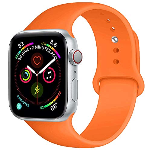 New Orange Rubber - BOTOMALL Compatible with Iwatch Band 38mm 40mm 42mm 44mm Classic Silicone Sport Replacement Strap Bracelet for Iwatch All Models Series 4 Series 3 Series 2 Series 1 S/M M/L (Orange, 38/40mm S/M)