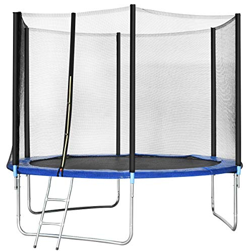 GYMAX Trampoline, Spacious Round Trampoline Combo Bounce Jump with Safety Enclosure Net Jumping Met and Spring Pad Ladder, Best Gift for Kids Children (10FT)