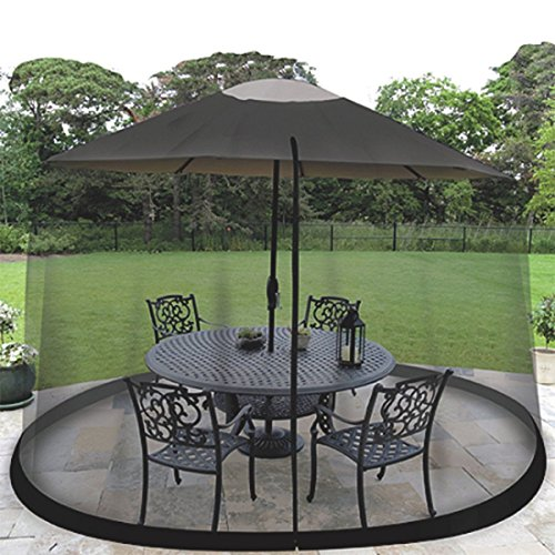 Ideaworks JB5677 Outdoor 7.5-Foot Umbrella Table Screen, Black (Mosquito Net Porch For)