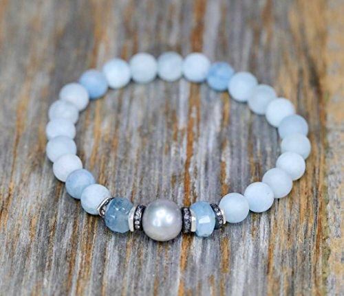 Aquamarine Pearl Diamond Bracelet Sterling Silver- 7'' Length by Nadean Designs