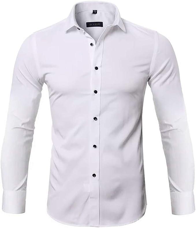 Slim Fit Camisa Bamb/ú Fibra Hombre Manga Larga Camisa El/ástica Casual//Formal para Hombre