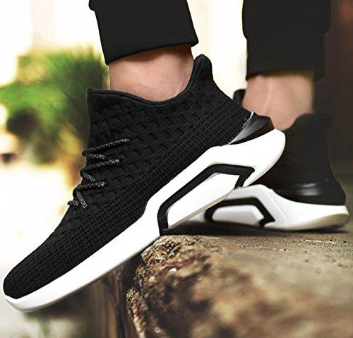 Chaussures de course pour hommes confortables respirant Sports Shoes Fashion Trend Fitness en plein air printemps et en été chaussures Black j2Q1D