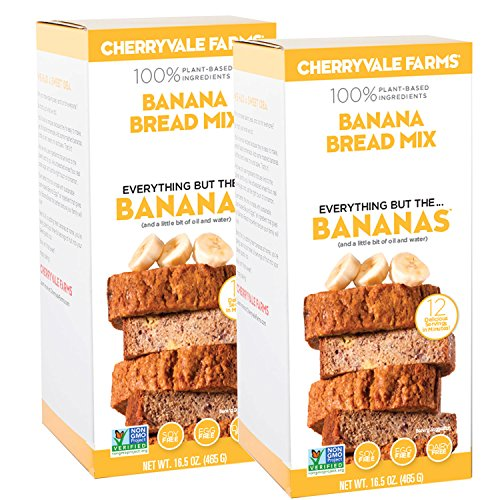 - Cherryvale Farms, Banana Bread Baking Mix, Everything But The Bananas, Add Fresh Produce, Tastes Homemade, Non-GMO, Vegan, 100% Plant-Based, 16.5 oz (pack of 2)