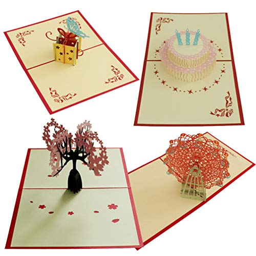 4 Pcs Pop Up Card 3D Paper Craft Greeting Cards Cherry Blossoms Proposal Confession Ferris Wheel Happy Birthday Cake - Girlfriends, Sweetheart, Wife - Birthday, Anniversary Gift Invitation -