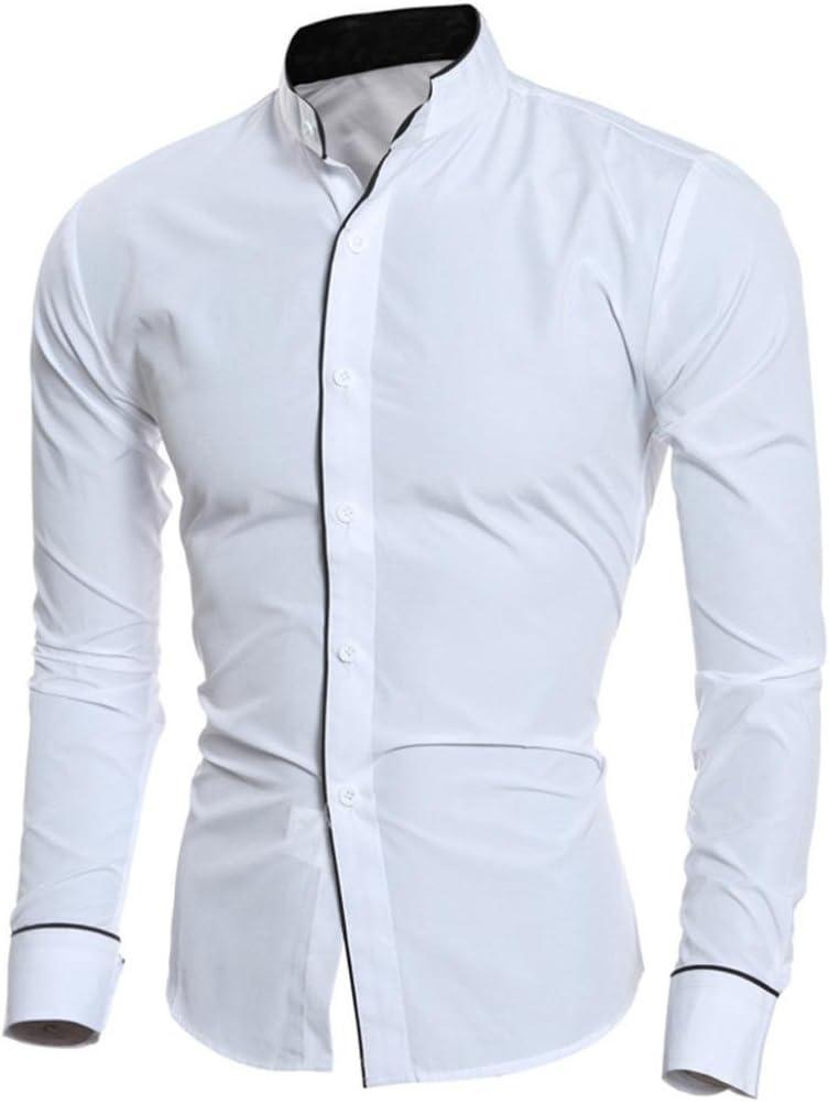 Camisas hombre Hombres Slim camisas de manga larga,YanHoo®Camisa de los hombres Slim Fit manga botón camisas blusa formal superior Estilo del ocio de la manera (Blanco, M): Amazon.es: Iluminación